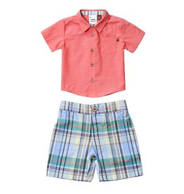Fore Axel & Hudson Coral Plaid Set
