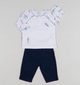 Kissy Kissy White/Blue Baby Boy Rocket Print Pant Set