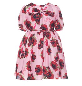 Patachou Pink & Red Poppy Print Dress