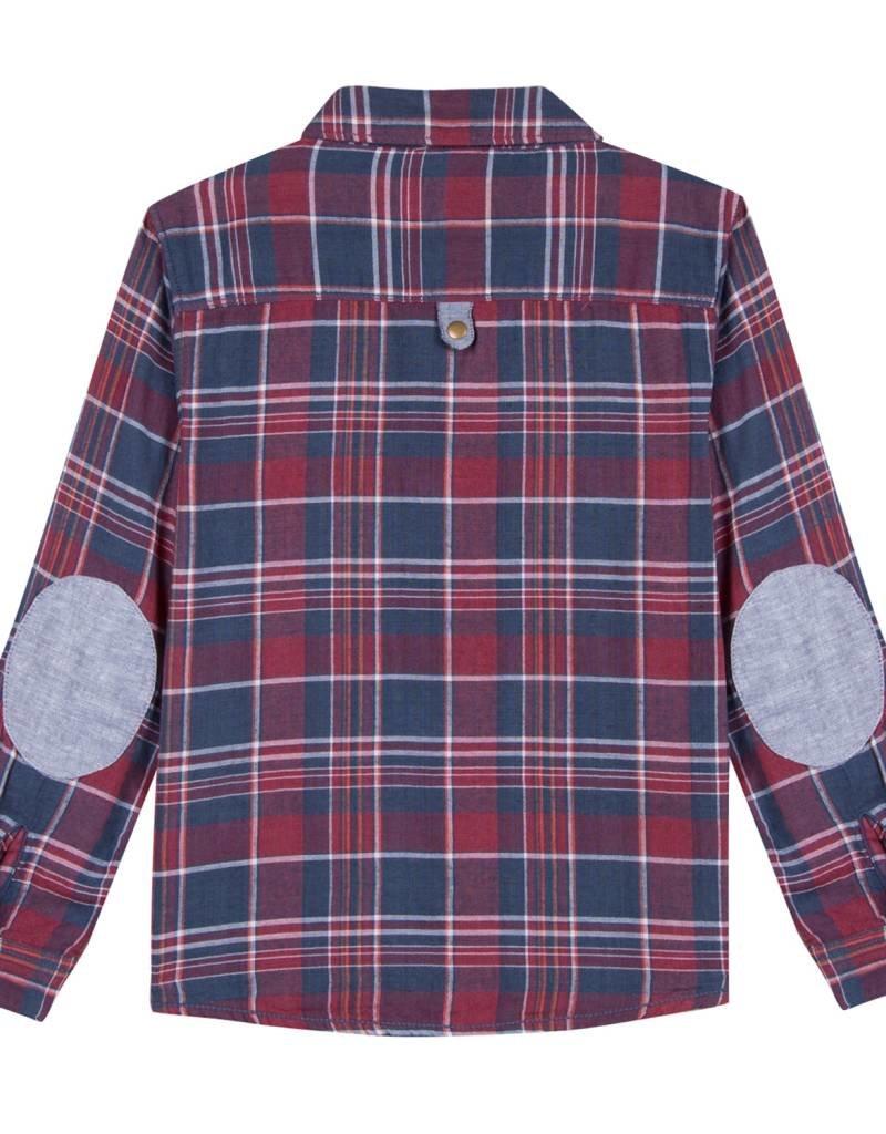 Burgundy & Navy Plaid Shirt