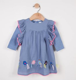 Catimini Blue Crepe Dress w/ Birds