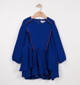 Catimini Blue Multi Frilled Crepe Dress