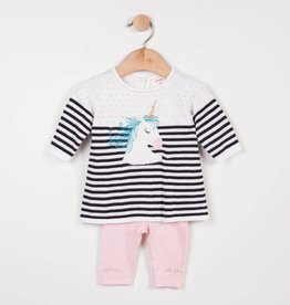 Catimini Black & White Stripe Unicorn Sweater Set