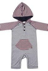 Fore Axel & Hudson Grey & Burgundy Stripe Hooded Romper
