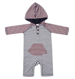 Fore Axel & Hudson Grey & Burgundy Stripe Hooded Romper