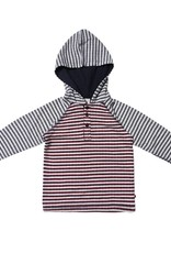 Fore Axel & Hudson Grey & Burgundy Stripe Hooded Henley
