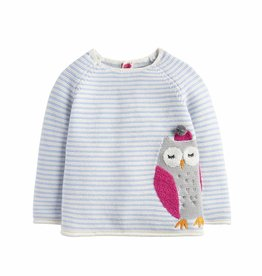 Blue & White Owl Sweater