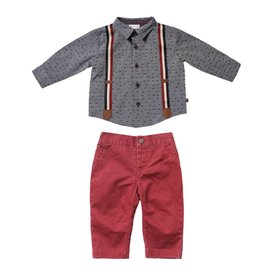 Fore Axel & Hudson Grey & Burgundy Suspender Set