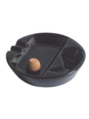 Black Ceramic 1 Pipe Ashtray w/knocker P904