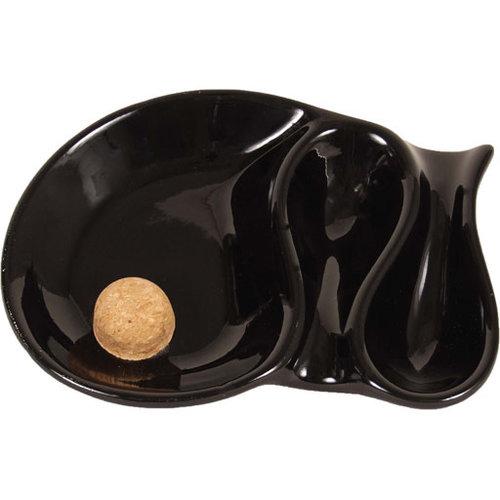 Black Ceramic 2 Pipe Ashtray w/knocker P903