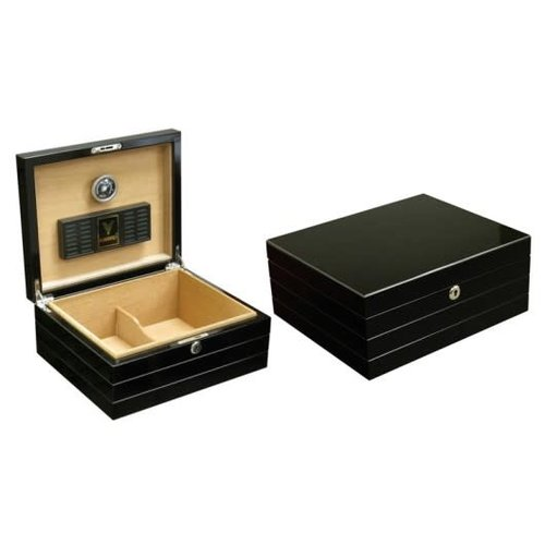 Prestige Imports Onyx - High Gloss Black Humidor - Holds 50 cigars