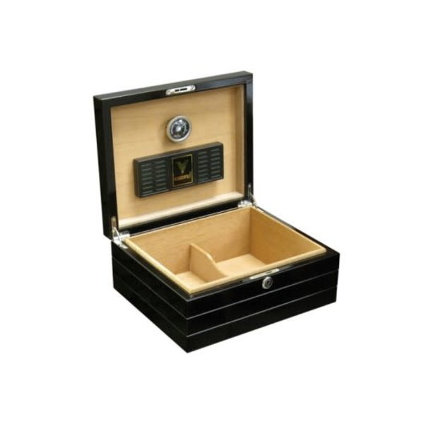 Onyx - High Gloss Black Humidor - Holds 50 cigars
