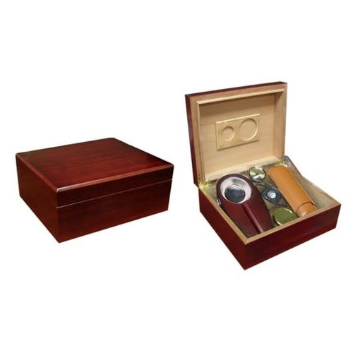 Prestige Imports Diplomat - Cherry Humidor Gift Set - Holds up to 50 cigars