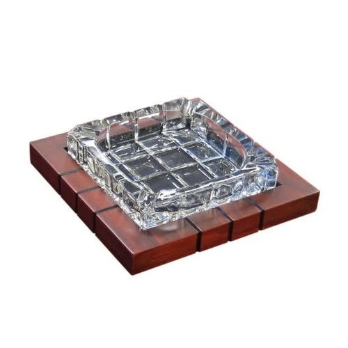 Prestige Imports Wood and Crystal Cigar Ashtray