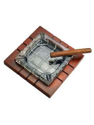 Prestige Imports Wood and Crystal Cigar Ashtray
