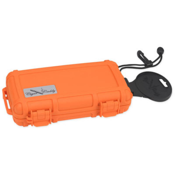 Cigar Caddy Travel Humidor - Holds 5 - Orange
