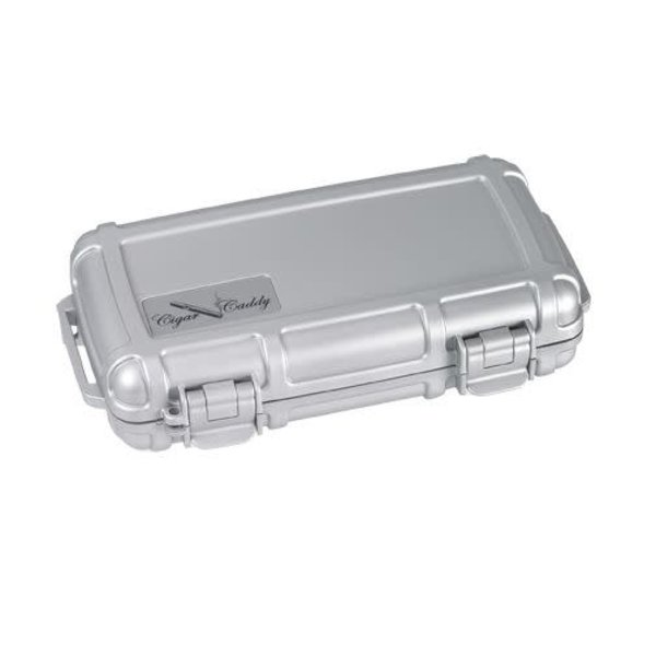 Cigar Caddy Travel Humidor - Holds 5 - Silver