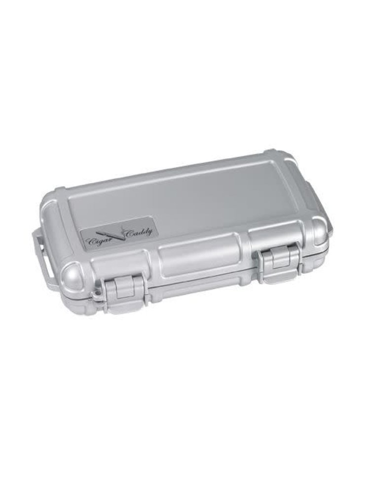 Cigar Caddy Cigar Caddy Travel Humidor - Holds 5 - Silver