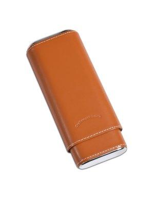 Craftsman's Bench CB Cigar Case 54 Ring Tan w/ Silver 3 Cigar Churchill
