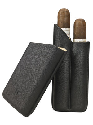 Lotus Lotus 2 Finger Cigar Case (62 ring) - Black Leather