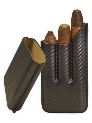 Lotus Lotus 3 Finger Cigar Case (62 ring) - Carbon Fiber Wrap