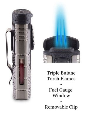 Xikar XIKAR Tactical Triple Torch Lighter - Black and Gunmetal