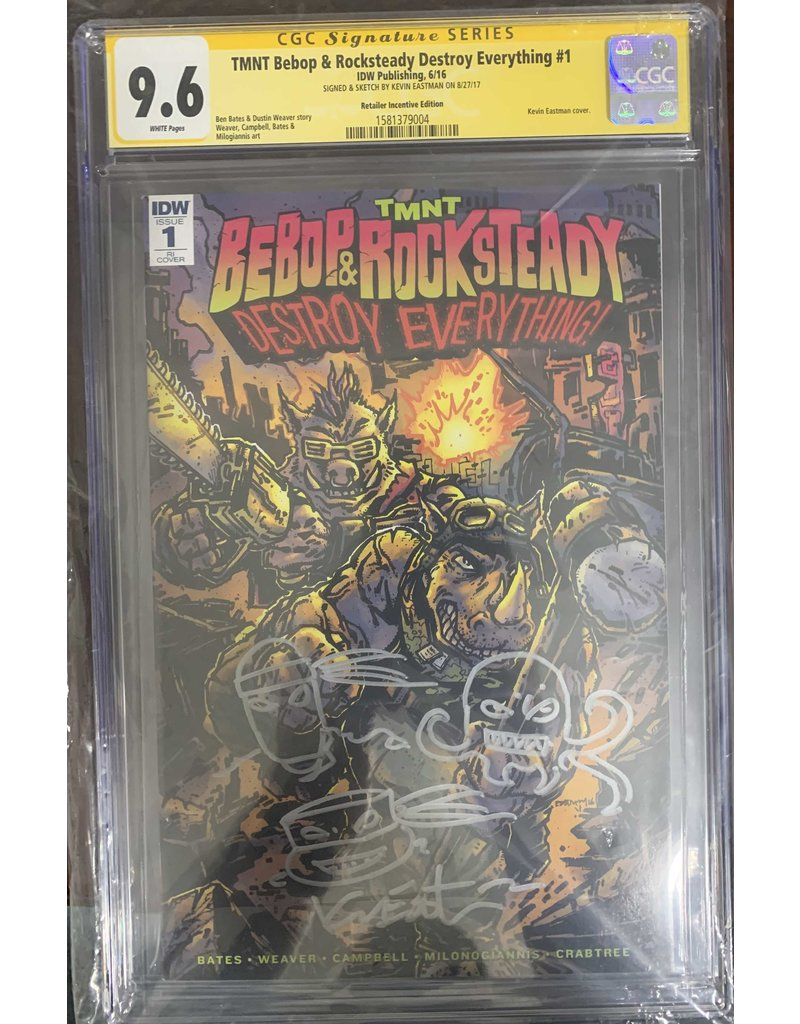 TMNT Bebop & Rock Steady Destroy Everything #1RI sketch and signed by Kevin Eastman