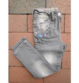 Kanz Embroidered Grey 5-Pocket Denim