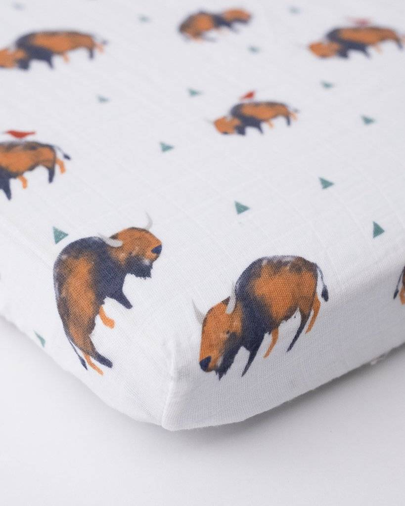 Little Unicorn Mini Muslin Crib Sheet - Bison