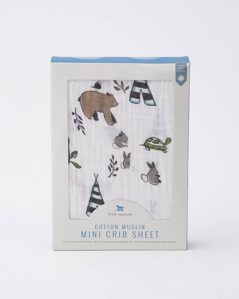 Little Unicorn Mini Muslin Crib Sheet - Forest Friends