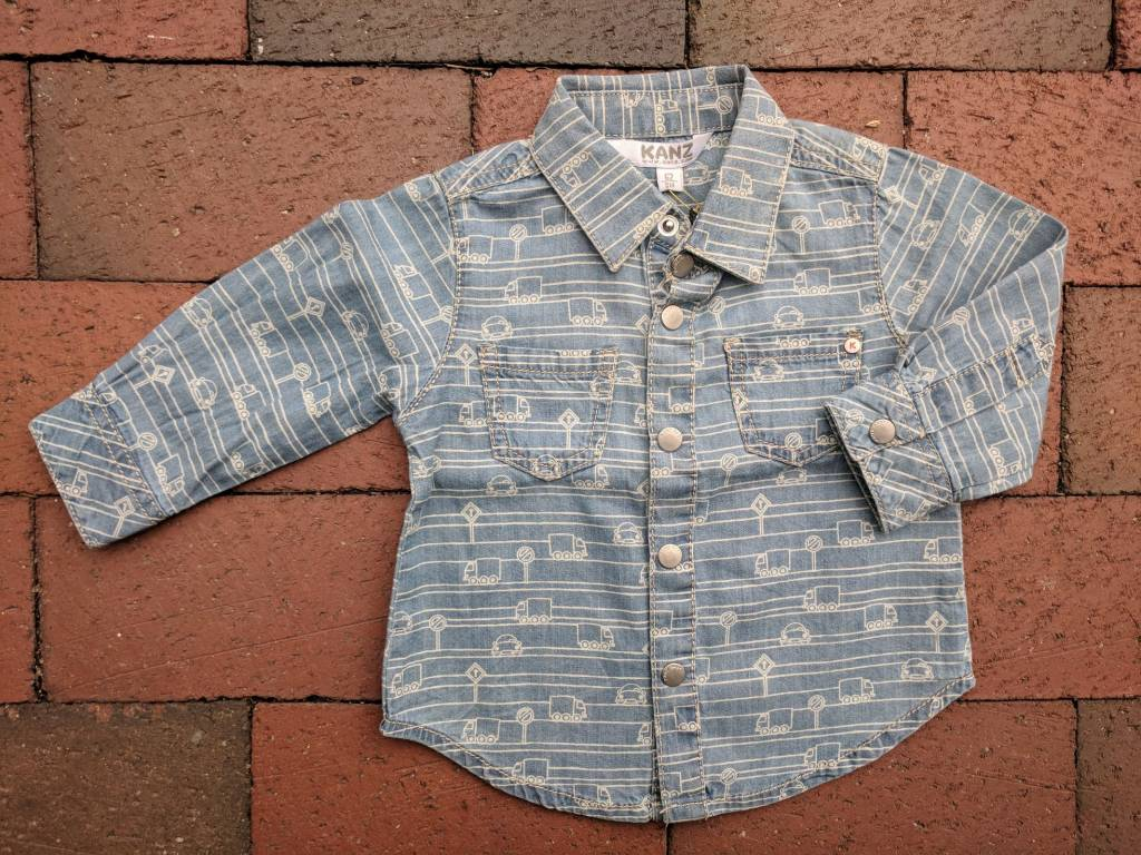 Kanz Woven Chambray - Little Cars