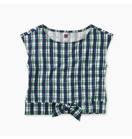 Tea Collection Printed Plaid Bow Waist Top
