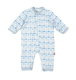 Magnificent Baby Magnetic Modal Coverall - Soft Blue Elephants
