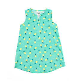 Emerald August Michelle Dress - Teal Pineapples
