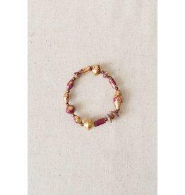 31 Bits Starlight Bracelet - Burgundy/Gold