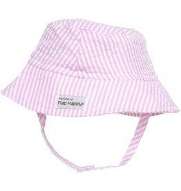 Flap Happy Crusher Hat - Pink Seersucker
