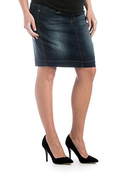67415f3bb67f7 Lilac Maternity Lilac Denim Skirt - Dark Wash - Bump & Baby, LLC