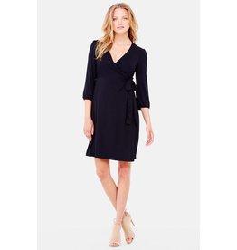 Ingrid & Isabel Maternity 3/4 Sleeve Wrap Dress - Black