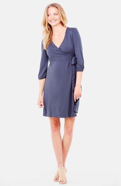dc08ef7a937e4 Ingrid & Isabel Maternity 3/4 Sleeve Wrap Dress - Grey Metal - Bump ...