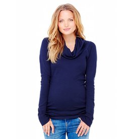 Ingrid & Isabel Maternity Cowl Neck Lightweight Sweater - True Navy