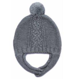Angel Dear Cable Knit Hat w/Chin Strap - Grey