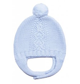 Angel Dear Cable Knit Hat w/Chin Strap - Blue