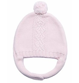 Angel Dear Cable Knit Hat w/Chin Strap - Pink