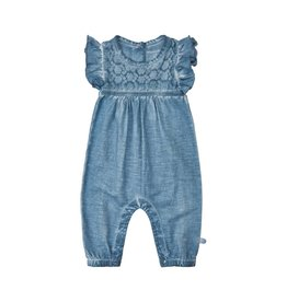 Minymo Flutter Sleeve Cotton Romper - Blue Mirage