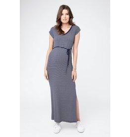 Ripe Maternity Meghan Striped Maxi Dress-Navy/White