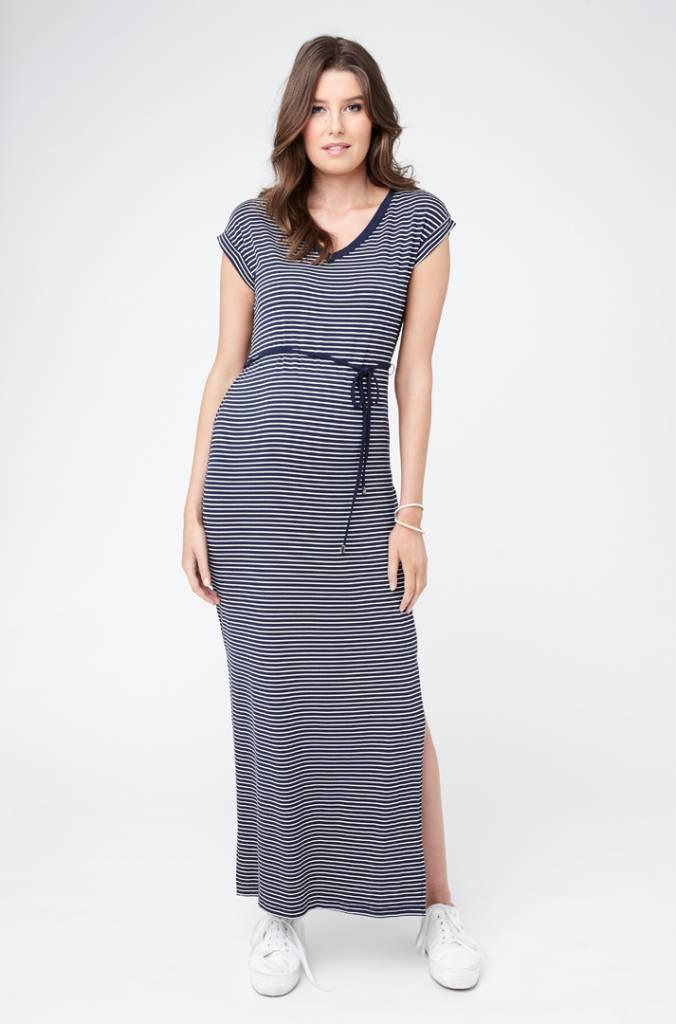 ab7b2bc8acd Ripe Maternity Meghan Striped Maxi Dress-Navy White - Bump   Baby