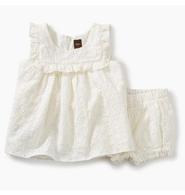 Tea Collection Eyelet Baby Outfit-Chalk