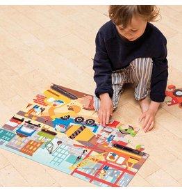 Petit Collage Floor Puzzle - Construction Site