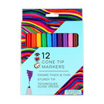 Bright Stripes Cone Tip Markers