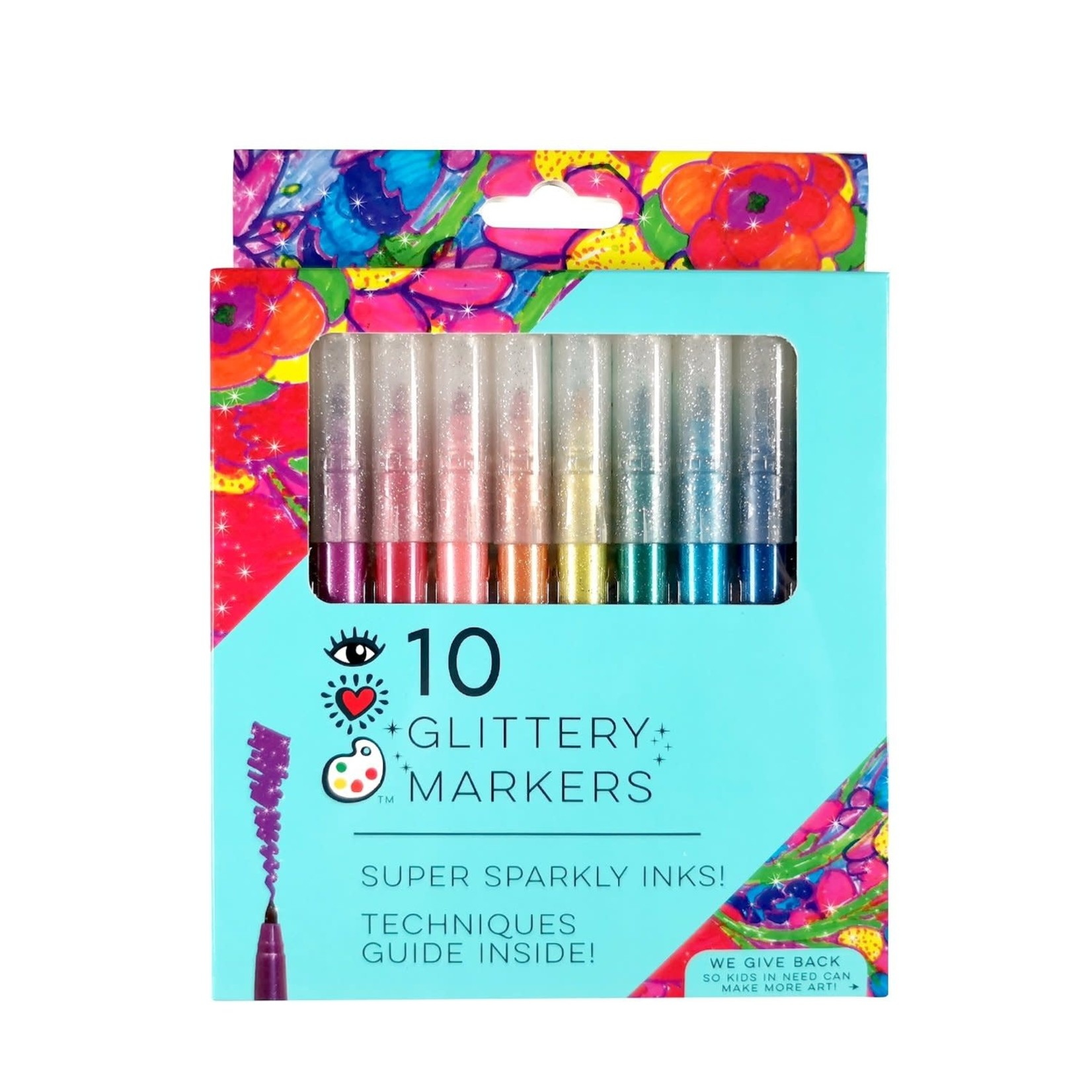 Bright Stripes Glittery Markers
